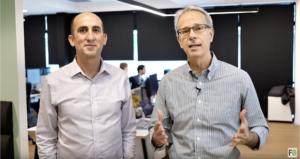 Fabio Orecchini con Yoav Levy nella sede Upstream a Tel Aviv in Israele