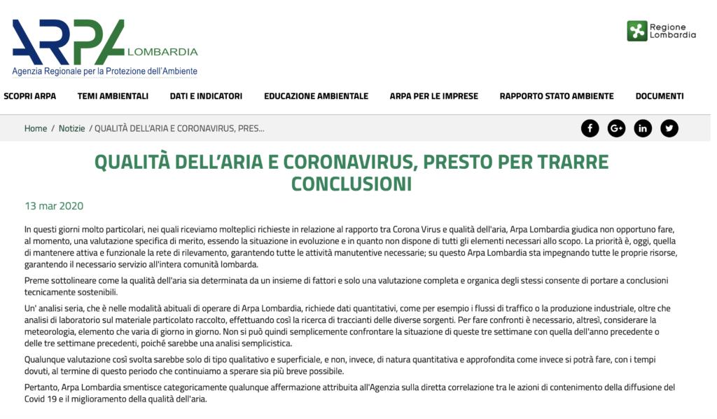 Coronavirus restrizioni e inquinamento Arpa Lombardia