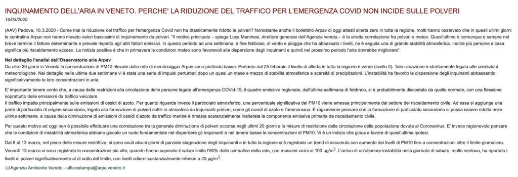 Comunicato Coronavirus restrizioni e inquinamento ARPA Veneto