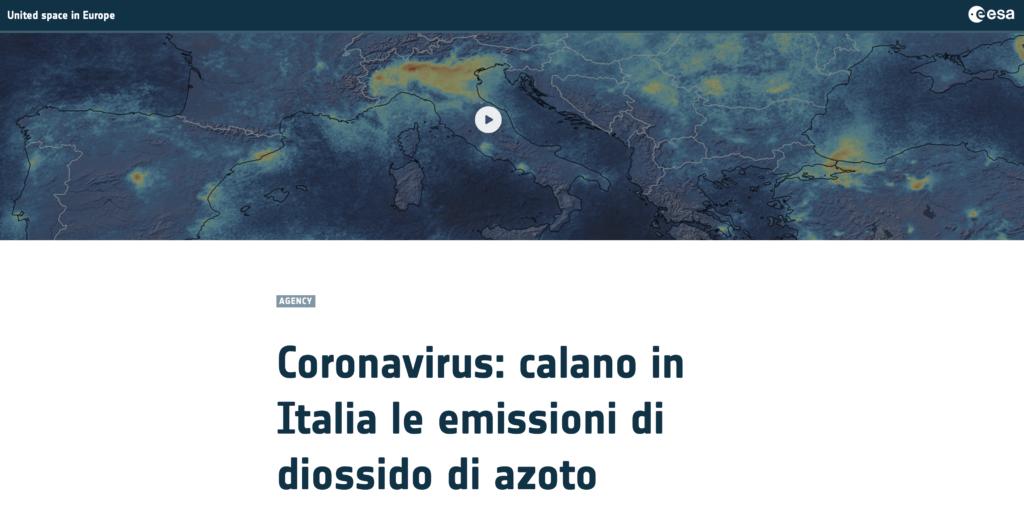 Report ESA Cornavirus e restrizioni Italia