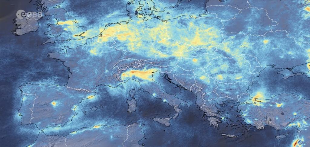 ESA immagine inquinamento Italia restrizioni Coronavirus