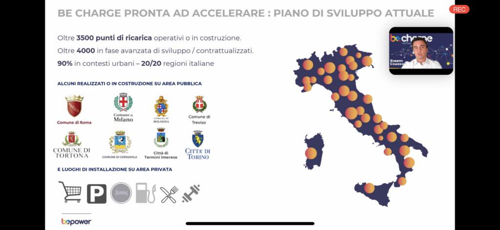 Rete di ricarica Be Charge in Italia