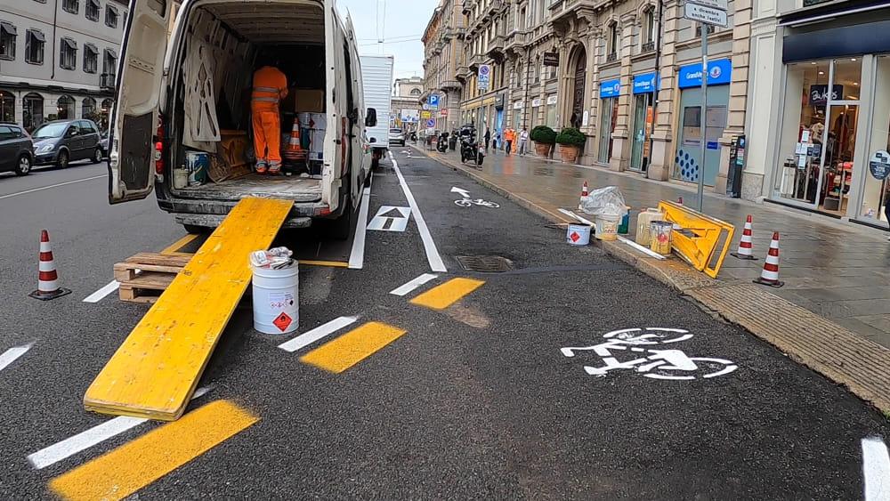 Pista ciclabile Milano Mobilità