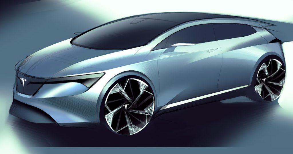 Tesla Model 2 elaborazione blu