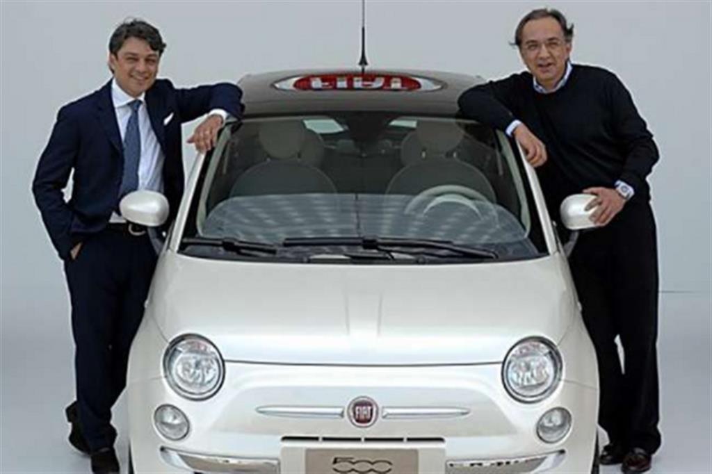 Luca De Meo e Sergio Marchionne Fiat 500