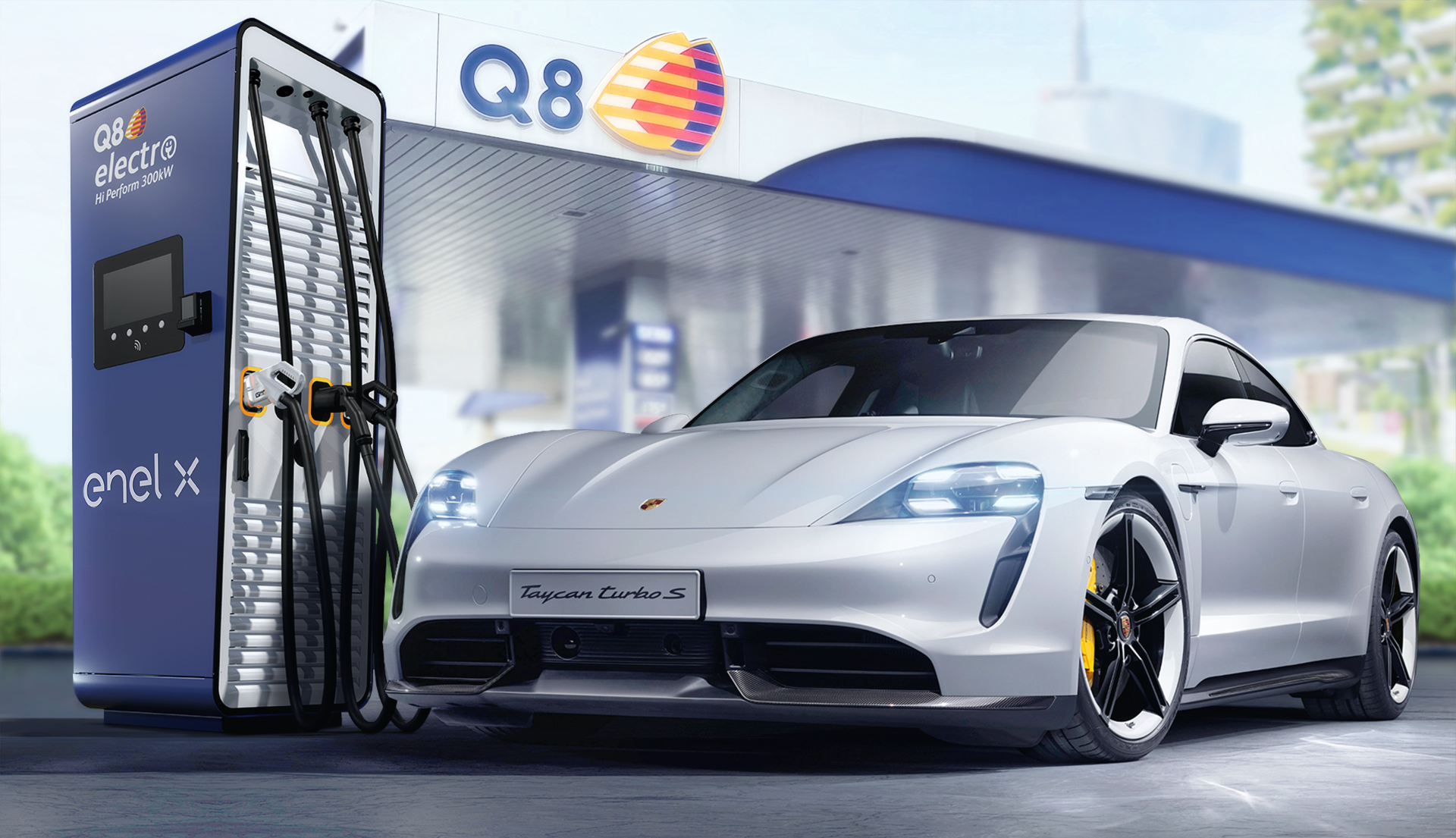 Q8, ricarica elettrica ultrafast nelle stazioni di servizio grazie alla Porsche