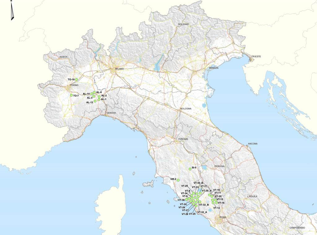 Deposito rifiuti nucleari Italia mappa nord