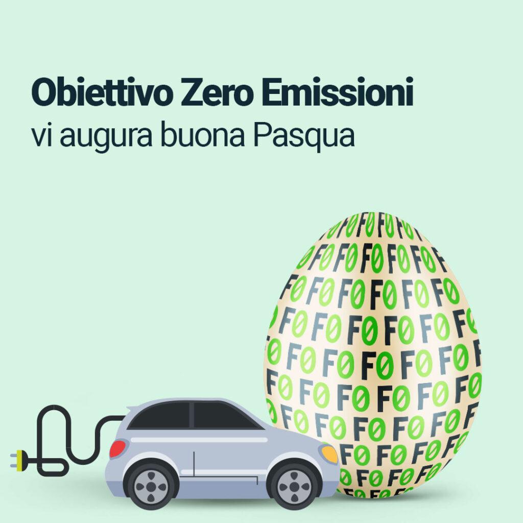 Buona Pasqua auto elettrica e uovo