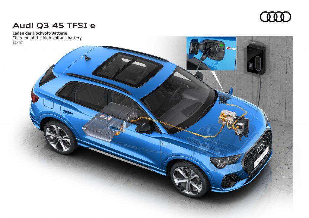 Audi Q3 plug-in schema ricarica elettrica