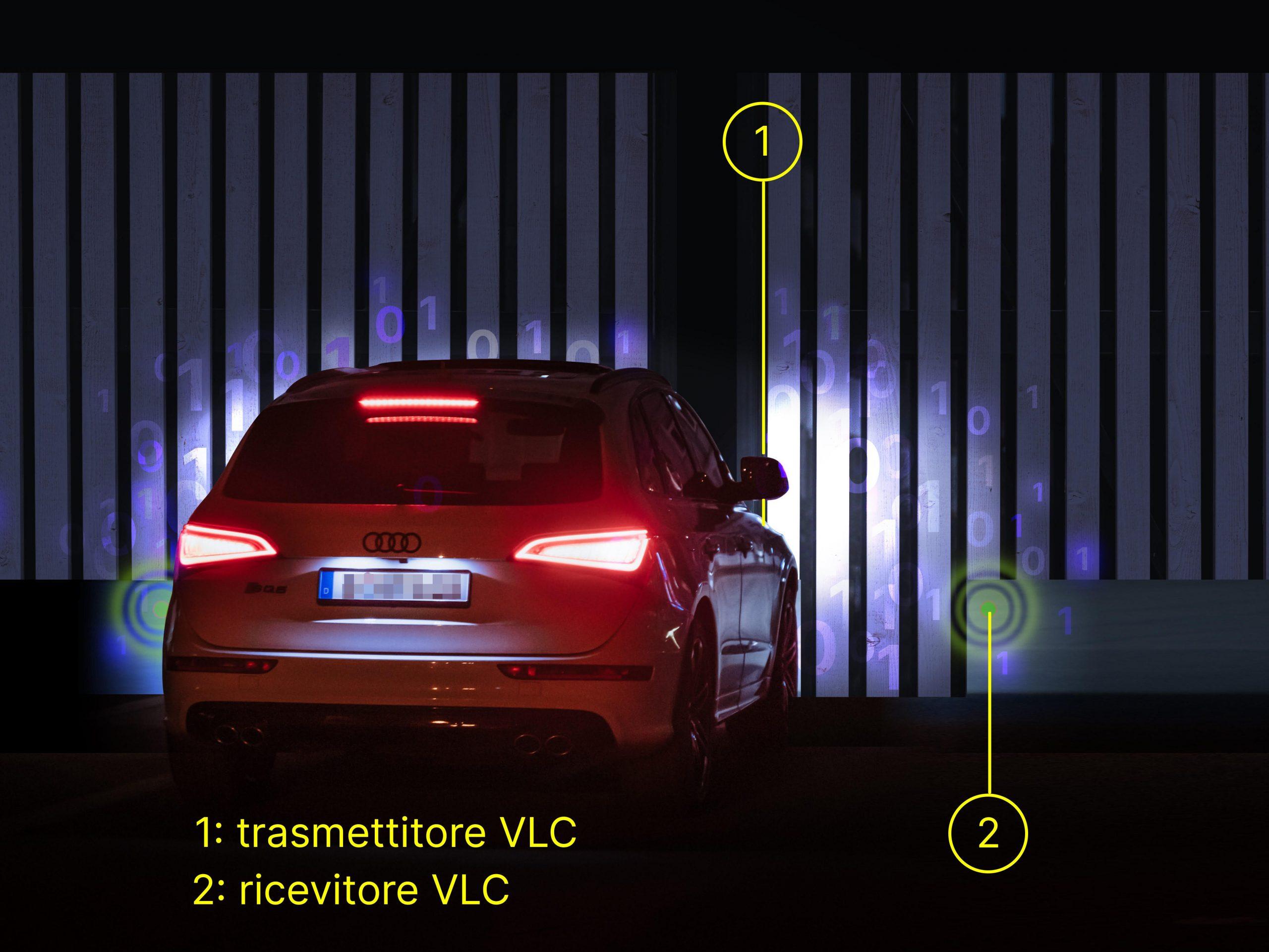 Fari parlanti auto reale e cancello illuminato