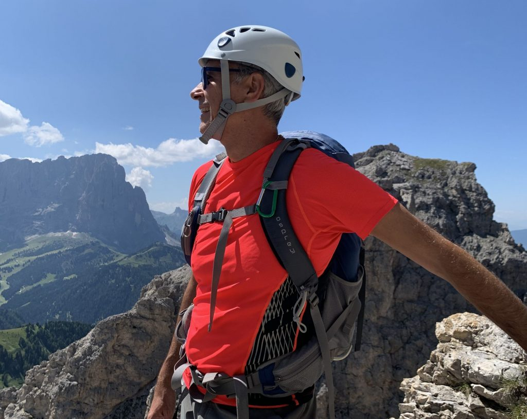 Fabio Orecchini casco arrampicata Dolomiti 2021